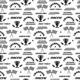 Seamless vector background with symbols of racing. Stock Photos