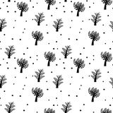 Seamless vector background with trees. Seamless black and white vector background with cartoon trees Vector Illustration