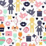 Seamless vector background. Valentine s Day. Royalty Free Stock Photography