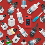Seamless vector background vaping atomizer electronic cigarette Royalty Free Stock Images
