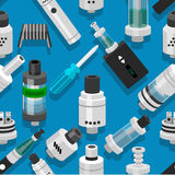 Seamless vector background vaping atomizer electronic cigarette Stock Photo