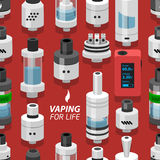 Seamless vector background vaping atomizer electronic cigarette Royalty Free Stock Photos