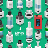 Seamless vector background vaping atomizer electronic cigarette Royalty Free Stock Photography