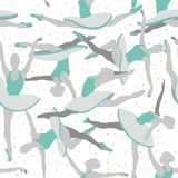 Seamless Vector Ballerina Pattern in blue and grey stock illustration