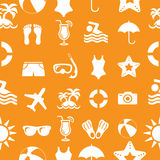 Seamless Vector Beach and vacation icons pattern Stock Image