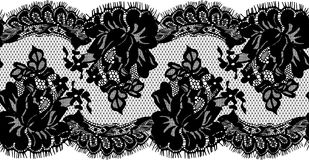 Seamless Vector Black Lace. Seamless Vector Black Detailed Lace Pattern Stock Photography