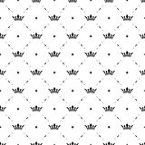 Seamless vector black pattern with king crowns Royalty Free Stock Images