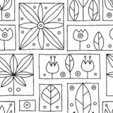 Seamless vector black and white decorative hand drawn pattern with geometrical motifs, flowers. Graphic vintage design. Print for. Wrapping, wallpaper, surface royalty free illustration