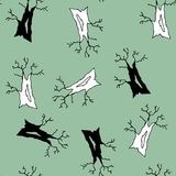 Seamless vector of black and white old cottonwoods stock illustration