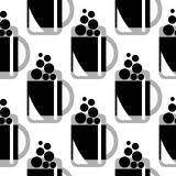 Seamless vector black and white pattern with beer glasses. Royalty Free Stock Photo