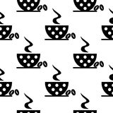 Seamless vector black and white pattern with closeup coffee cups with dots and grains Stock Photo