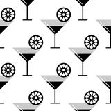 Seamless vector black and white pattern with coctails and orange, lime slices on the white background Royalty Free Stock Image