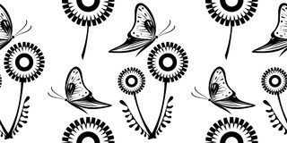 Seamless vector black and white pattern with dandelions and butterflies Royalty Free Stock Photos
