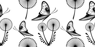 Seamless vector black and white pattern with dandelions and butterflies Royalty Free Stock Photography