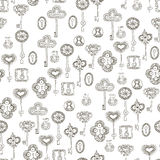 Seamless vector black and white pattern with keys and keyholes. For wallpaper, wrapping paper, scrap booking Royalty Free Stock Photos