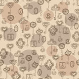 Seamless vector black and white pattern with keys and keyholes. For wallpaper, wrapping paper, scrap booking Stock Images