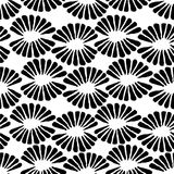 Seamless vector black and white stamp pattern with retro flowers. For fabric, textile, wrapping, craft Stock Photography