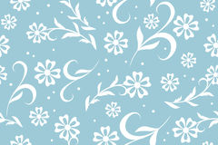 Seamless vector blue floral pattern with circles Royalty Free Stock Photos