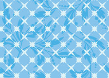 Seamless vector blue geometric texture with flora Stock Photo