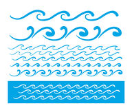 Seamless vector blue wave line pattern Royalty Free Stock Photo
