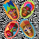 Seamless vector border with Australian boomerangs and African masks. Ethnic textile collection. Illustrarion for fashion and textile design Stock Illustration