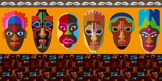 Seamless vector border with Australian boomerangs and African masks. Stock Image
