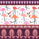 Seamless vector border with exotic birds and flowers. vector illustration