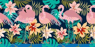 Seamless vector border with flamingos and tropical flowers. Stock Photos