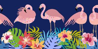 Seamless vector border with flamingos and tropical flowers. Stock Photography