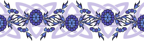 Seamless vector border with flowers and Celtic knots. Seamless vector border with violet flowers and Celtic knots Stock Photography