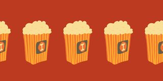 Seamless Vector border with hand drawn popcorn buckets. Cinema snack illustration. Hand drawn fast food. Movie time stock illustration