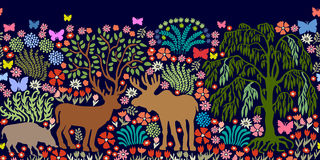 Seamless vector border with magic animals and trees. Royalty Free Stock Images