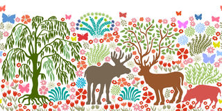 Seamless vector border with magic animals and trees. Stock Photos