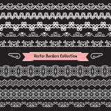 Seamless vector border pattern heart and flower collection Royalty Free Stock Photos