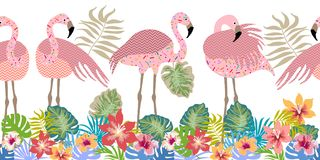 Seamless vector border pith flamingos, flowers and palm leaves. Tropical collection. Exotic birds and floral background Royalty Free Stock Image