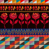 Seamless vector border with roses inspired by folk art. Ethnic textile collection. Composition of floral and geometric patterns Stock Image