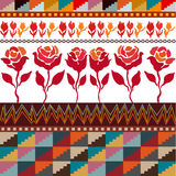 Seamless vector border with roses inspired by folk art. royalty free illustration