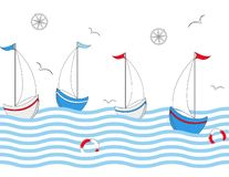Seamless vector border with sailing ships, seagulls, sea waves. stock illustration