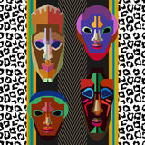 Seamless vector border with shamanic masks and animal prints. Stock Photo