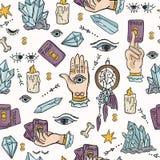 Seamless Vector Border Spiritual Symbols Tarot Card vector illustration