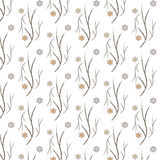 Seamless vector branch with floral pattern background Stock Photo