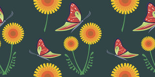 Seamless vector bright pattern with orange dandelions and red butterflies on the dark background. Royalty Free Stock Image