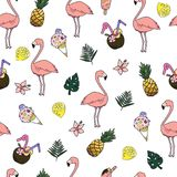 Seamless vector cartoon doodle pattern. Exotic tropical texture for printing, web design, poster template. Collection of. Seamless vector cartoon doodle pattern stock illustration