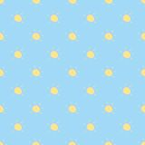 Seamless vector cartoon pattern, background or tex. Seamless vector summer pattern, background or texture with yellow shining sun on blue sky background Royalty Free Stock Photo