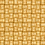 Seamless vector cartoon texture of weaving of shiny golden straws Royalty Free Stock Photography