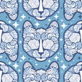 Seamless Vector Cat Pattern in abstract style in blue shades. Which can be used for your wallpapers, backgrounds, backdrop images, fabric patterns, clothing Stock Photo