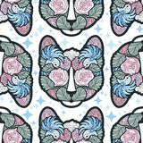 Seamless Vector Cat Pattern in abstract style with hints of blue and pink Royalty Free Stock Photography