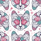 Seamless Vector Cat Pattern in abstract style with hints of pink which can be used for your projects. Seamless Vector Cat Pattern in abstract style with hints Royalty Free Stock Photos