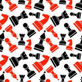 Seamless vector chaotic pattern with black and red and chess pieces Royalty Free Stock Photo