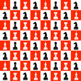 Seamless vector chaotic pattern with black and white chess pieces on the red and white chess board. Stock Image